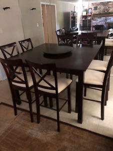 Pub Height Dining Table with 8 stools and removable leaf
