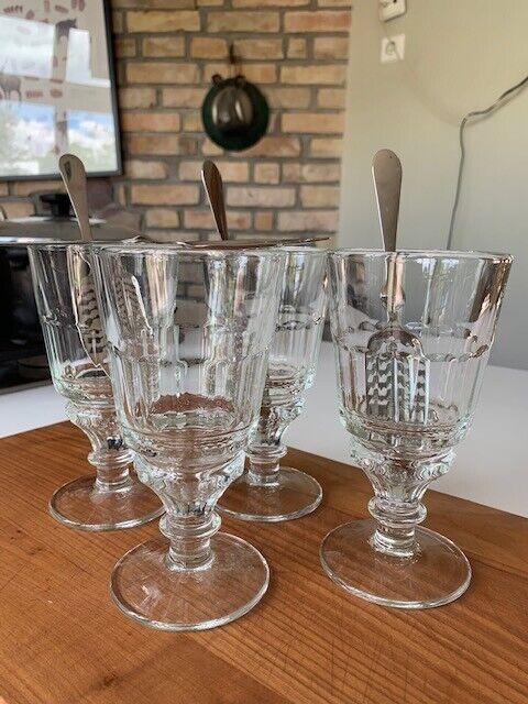 Absinth Glas Löffel Set - 4 Gläser mit Löffel