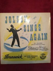Al Jolson long playing vinyl records x 2.