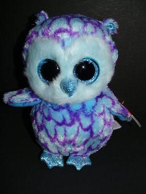 Nwt Ty Beanie Boos Oscar 6  Owl Purple Plush Blue Sparkly Eyes Boo 2015 Hoot New