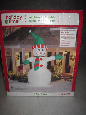 12' Lighted Snowman Gemmy Christmas Airblown Inflatable Huge