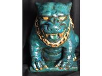 Bronze Verdigris Old Style Stone HellHound Guard Dog Gargoyle Home Garden Statue