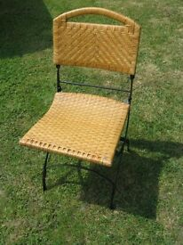 Good Quality Wicker & Wrought Iron Folding Chair for Garden or Home