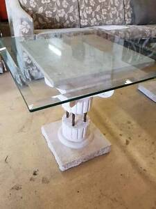 Lovely Fossil Stone Side Table with Glass Top Noosaville Noosa Area Preview