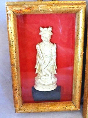 Amazing Vintage Chinese Carved Art in Golden Shadowboxes, Metal Hangers