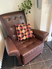 Brown Faux Leather High Backed Large Arm Chair with button detail