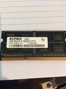 Elpida 4GB PC3-10600  Laptop Memory .