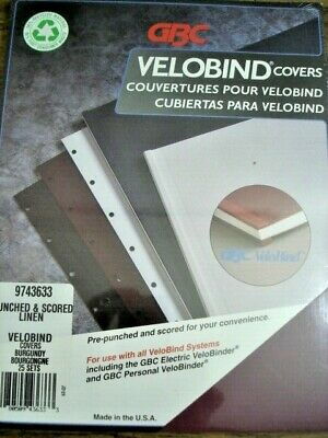 Gbc Velobind Covers 50 Sets Burgundy Punched Scored Linen 9743633