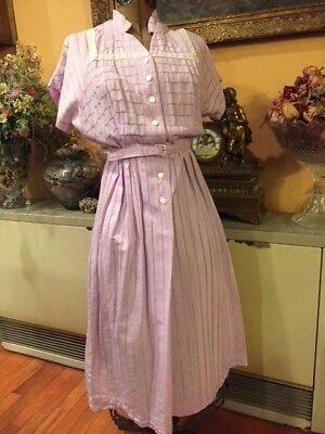 1940's House dress Fashion Lavender Purple Cotton/Rayon Vintage