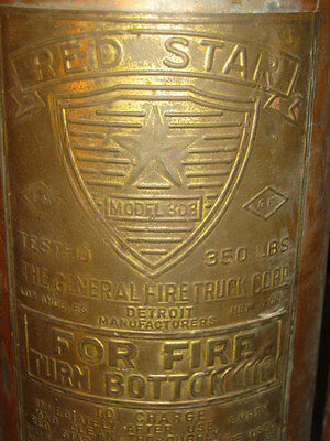 ANTIQUE COPPER RED STAR FIRE EXTINGUISHER TEXAS INDIAN WESTERN STATUE DOORSTOP