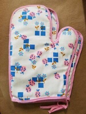 Vintage ladybug flower pink blue hand made oven mitts unused so cute! ()