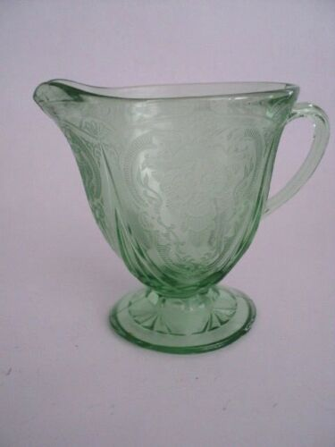 Royal Lace Green Depression Glass Creamer Hazel Atlas