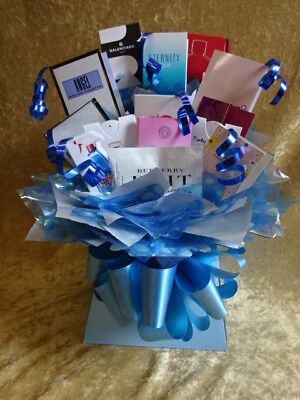 Blue Anyone Flower Bouquet Style 12 Perfume Vial Samples Gift Boxed Hamper Bows