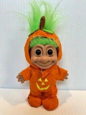 "Vintage Russ Pumpkin Troll 5"" Halloween Costume Jack o Lantern Green Hair A3"