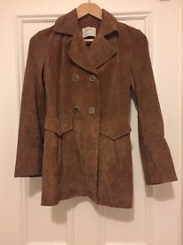 Suede coat/jacket from Zara. Double breasted. Excellent condition. Never worn. UK size XS.