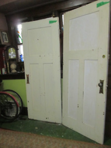 Two(2) antique solid fir SHAKER style 3panel INTERIOR DOORS