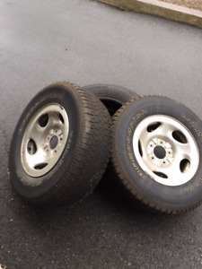 3 BF Goodrich Used Winter Studded Tires - 2 Tires On Chrome Rims