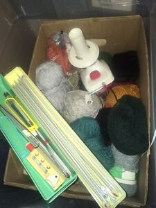 Knitting yarn with needles and knitting accessories