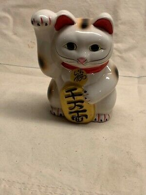 "BECKONING CAT Wealth Lucky Waving Cat 5"" Tall"