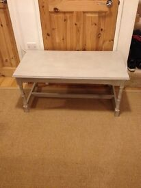 lovely painted coffee table in red brick and grey flint chalk paint for a distressed look