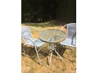 GLASS TABLE AND 2 GREY WICKER CHAIRS PATIO SET NEEDS REPAINTING BARGAIN