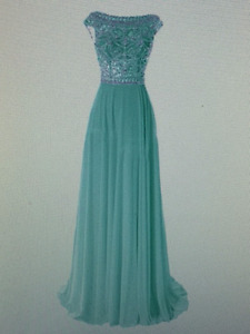 Elegant Floor Length  Cap Sleeve dress with Beads