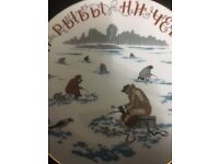RUSSIAN DECORATIVE PLATE DEPICTING WINTER ICE FISHING