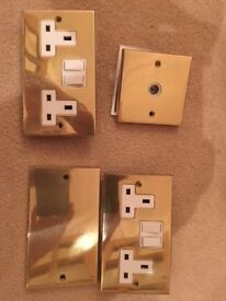 Brass Plug Sockets, Aerial, flat cover