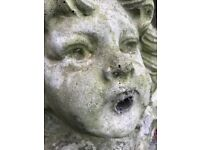 1 Classical French Cherub Stone Fountain Mask Spout Wall Plaque Garden Feature
