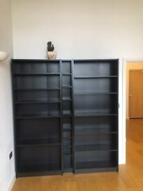 Two Dark Brown/Black Book Shelves and a CV/DVD stand