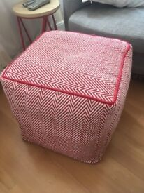 Habitat Durrie fabric red and white knitted footstool