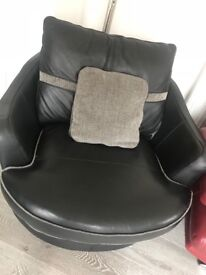 Large Reversable Black Leather / Fabric Round Swival Chair and Footstool