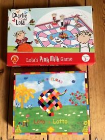 Age 3+ Kid board games Charlie and Lola Pink Milk Game + Elmer Lotto. London NW3