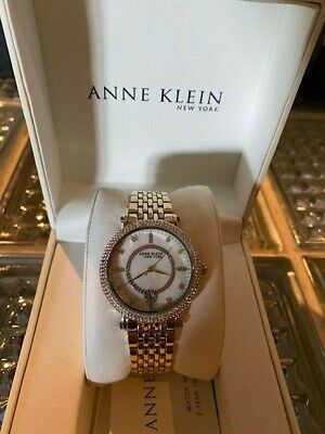 Anne Klein New York Swarovski Crystal Yellow Gold-Tone Ladies Watch 12/2312MPGB