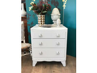 Shabby chic oak chest of three drawers