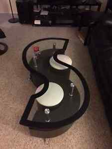 """S"" Shaped Glass Coffee Table & Two Foot Stools"