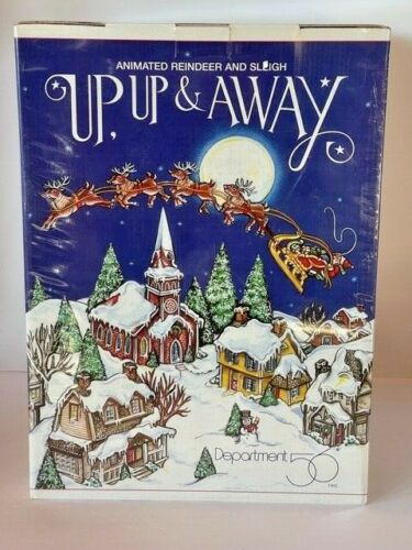 NIB Dept 56 Snow Village Animated Reindeer And Sleigh Up & Away  NEVER OPENED