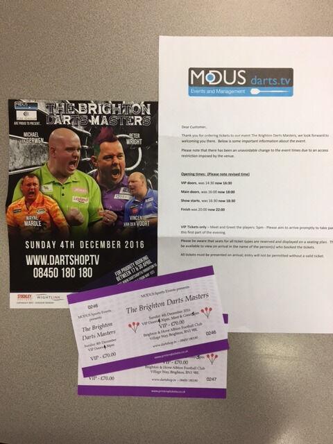 BRIGHTON DARTS MASTERS AT BRIGHTON & HOVE ALBION AMEX STADIUM (04.12.2016) 2 X VIP TICKETS ONLY £100