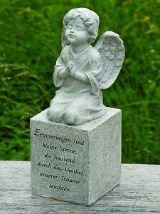 Trauerengel  Grabschmuck betender Engel *mit Spruch*  grau-antik wetterfest 25cm