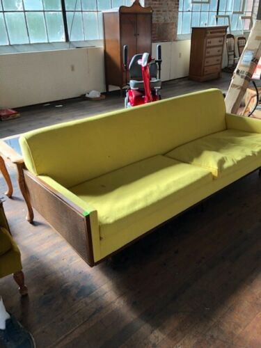 ANTIQUE SELIG MID CENTURY MODERN DANISH MODERN SOFA WITH WOVEN RATTAN ENDS