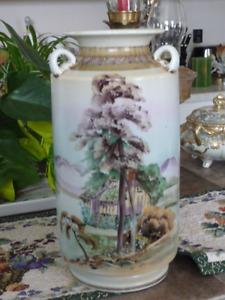 Beautiful Tall Vintage Nippon Hand Painted Vase