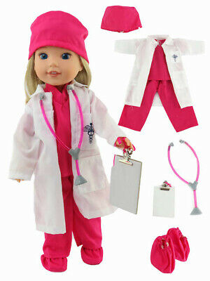 Doc Holiday Costumes (Doctor Outfit Pink Costume For 14 in Wellie Wishers American Girl Doll)