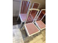 4 vintage red and white dining room chairs