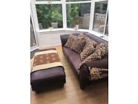 Brown leather sofa with footstool