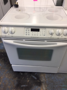 White Glass Top Slide in Electric Stove Warranty Delivery Avail