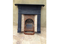 Victorian original cast iron fireplace, surround and mantle, with grate and tiles