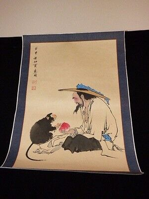 "CHINESE JAPANESE HAND PAINTED SCROLL MAN & MONKEY SHARING FRUIT SIGNED 20"" X 29"""