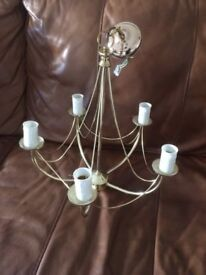 3 matching elegant gold/brass chandelier ceiling light fittings with 2 matching wall lights