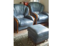 PAIR OF LEATHER ARMCHAIRS WITH STORAGE FOOTSTOOL