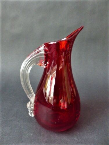Vintage Whitefriars Ruby Glass  Sparrow Beak Jug,